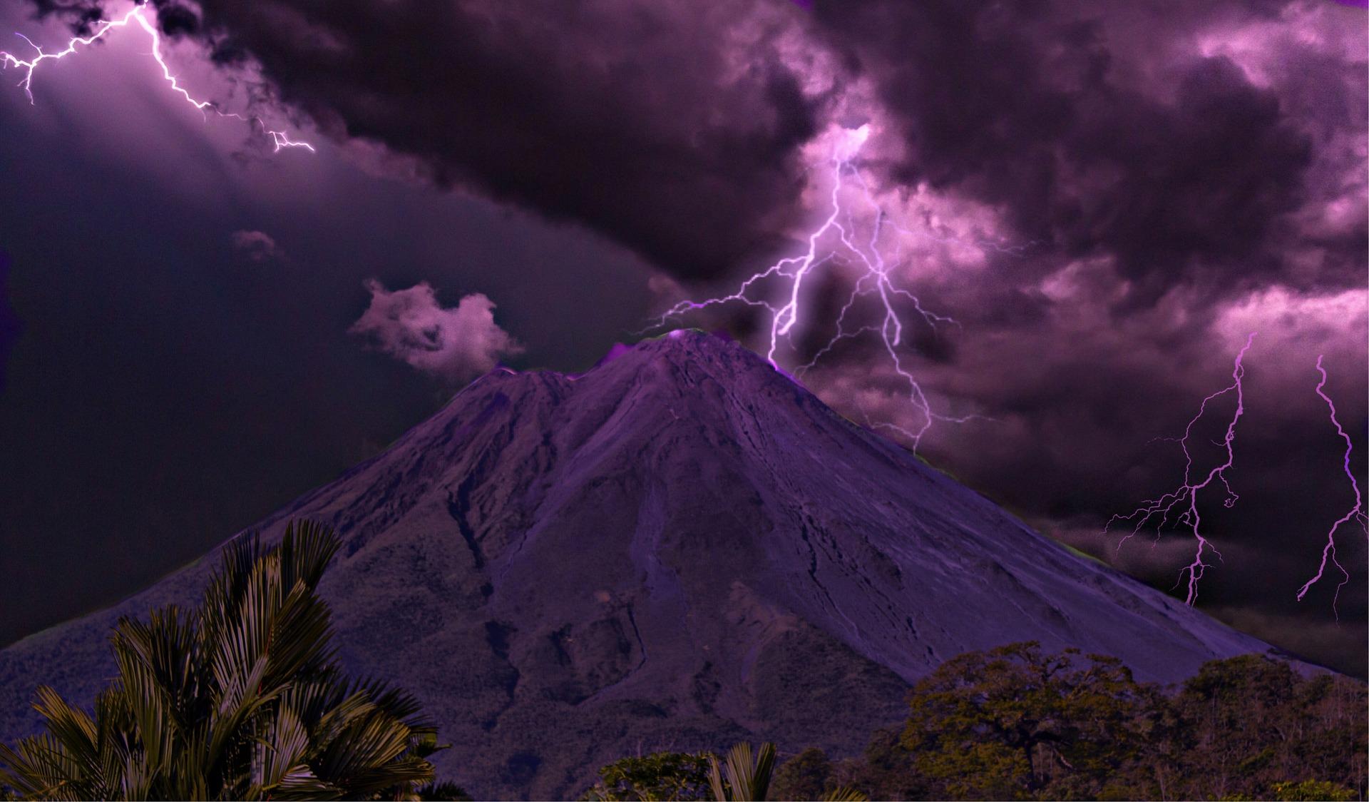 lightning over Arenal Volcano